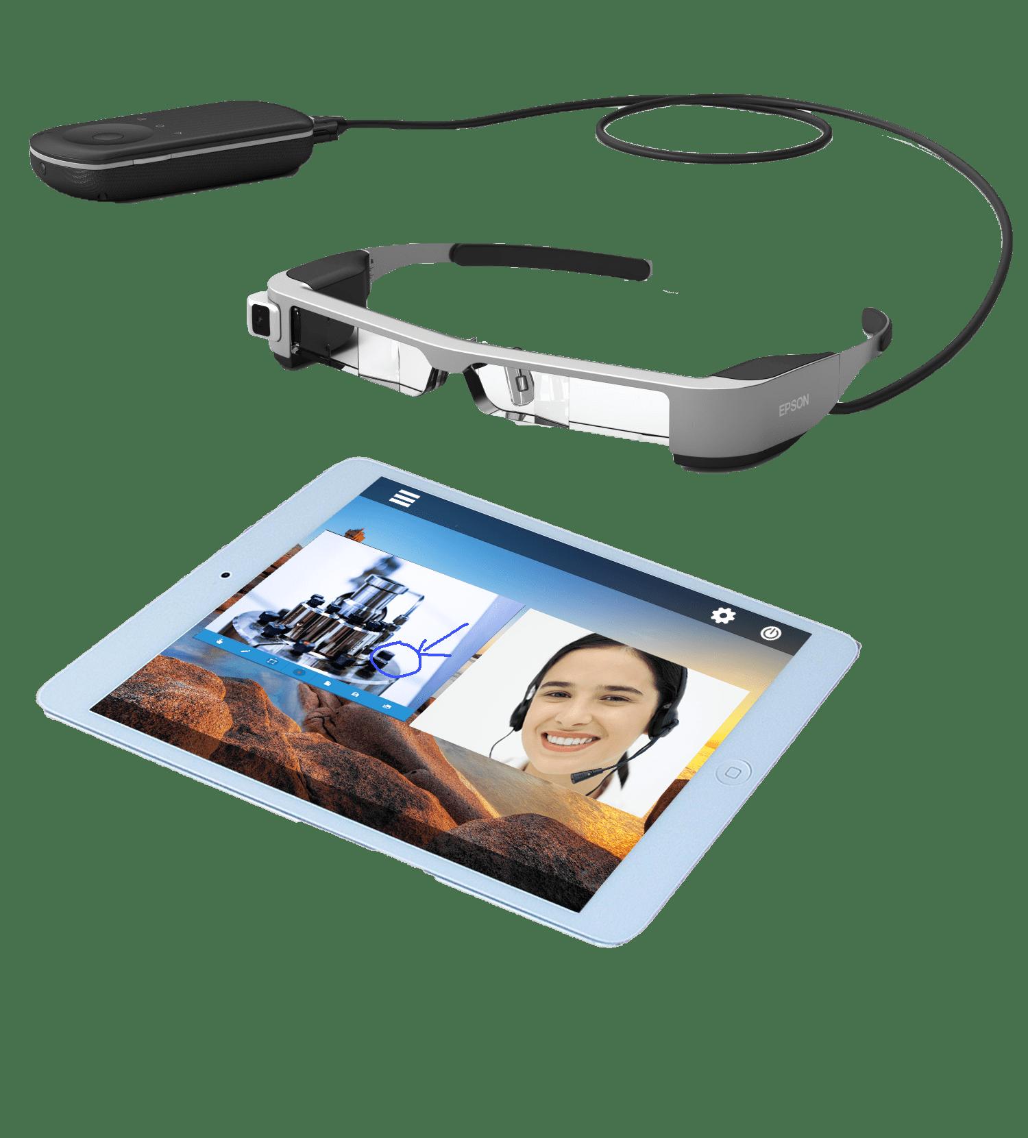 connected glasses with tablet for visual collaboration work and field service solution - lunettes connectées avec tablette pour travail collaboratif visuel et solution de service sur le terrain